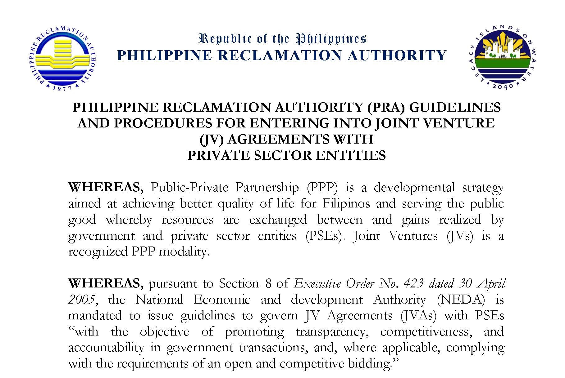 Pra Guidelines And Procedures For Entering Into Joint Venture Jv